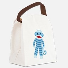 Blue Sock Monkey Canvas Lunch Bag