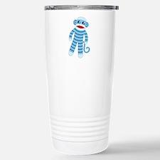 Blue Sock Monkey Stainless Steel Travel Mug