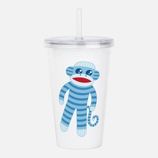 Blue Sock Monkey Acrylic Double-wall Tumbler