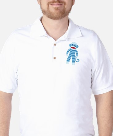 Blue Sock Monkey Golf Shirt