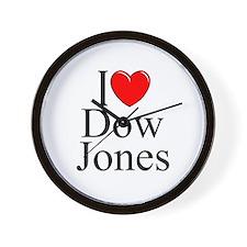 """I Love (Heart) Dow Jones"" Wall Clock"