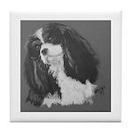Cavalier King Charles Spaniel b/w Tile Coaster