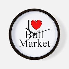"""""""I Love (Heart) Bull Market"""" Wall Clock"""