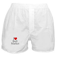 """""""I Love (Heart) Bull Market"""" Boxer Shorts"""