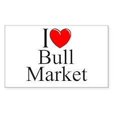 """I Love (Heart) Bull Market"" Rectangle Decal"