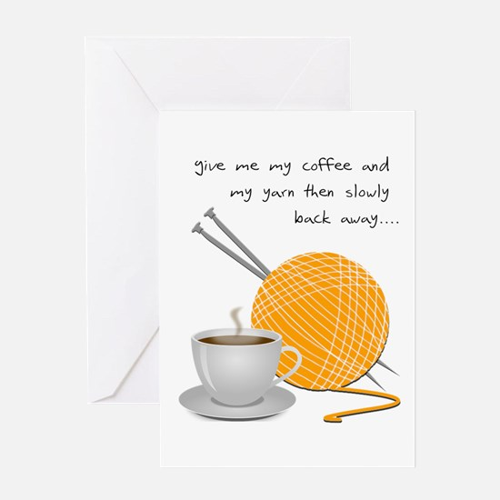 Grumpy coffee yarn Greeting Cards