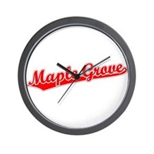 Retro Maple Grove (Red) Wall Clock
