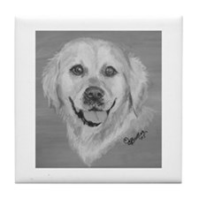 Golden Retriever II b/w Tile Coaster