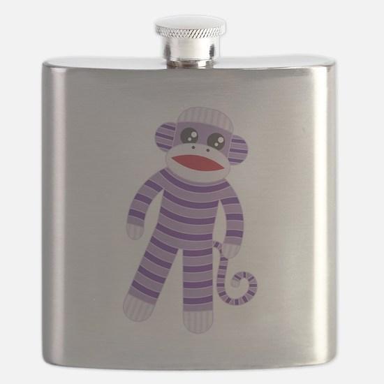Purple Sock Monkey Flask