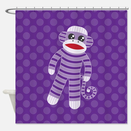 Purple Sock Monkey Shower Curtain