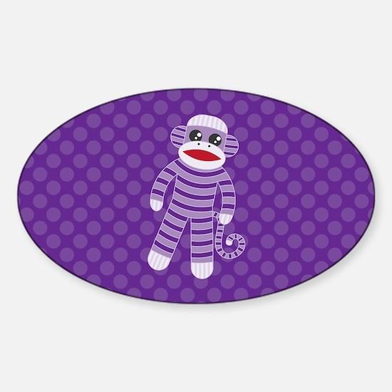 Purple Sock Monkey Sticker (Oval)