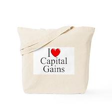 """""""I Love (Heart) Capital Gains"""" Tote Bag"""