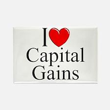 """I Love (Heart) Capital Gains"" Rectangle Magnet"