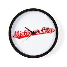 Retro Michigan City (Red) Wall Clock