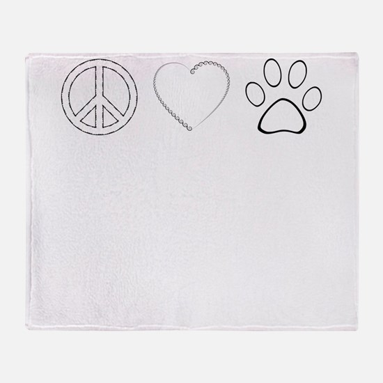 Peace Love Paws (Clear) Throw Blanket