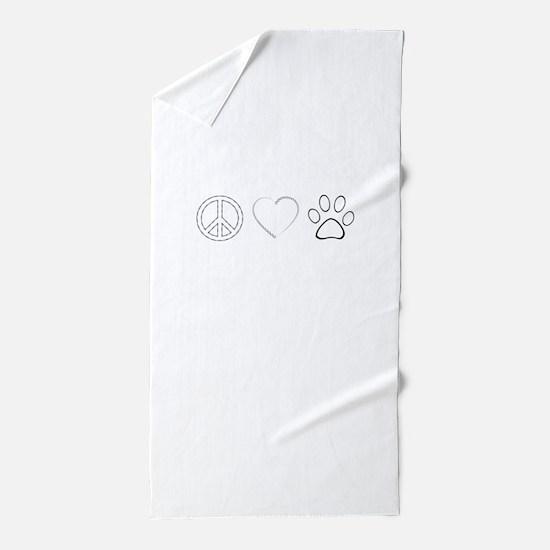 Peace Love Paws (Clear) Beach Towel