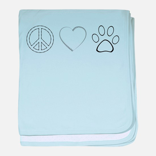 Peace Love Paws (Clear) baby blanket