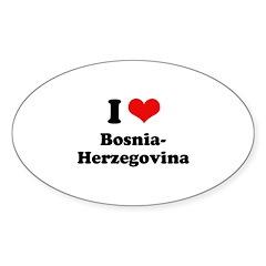 I love Bosnia-Herzegovina Oval Sticker (10 pk)