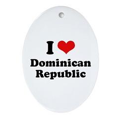 I love Dominican Republic Oval Ornament