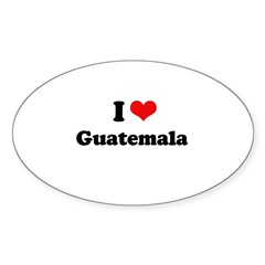 I love Guatemala Oval Sticker (50 pk)