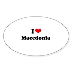 I love Macedonia Oval Sticker (50 pk)