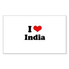 I love India Rectangle Sticker 10 pk)