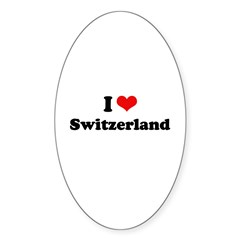 I love Switzerland Oval Sticker