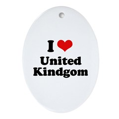 I Love United Kingdom Oval Ornament