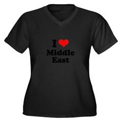 I love Middle East Women's Plus Size V-Neck Dark T