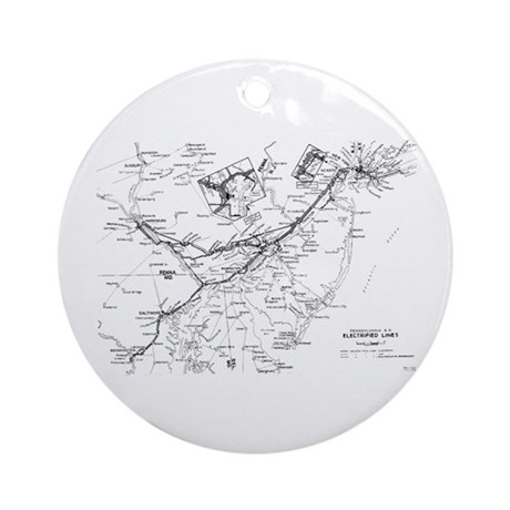 PRR Electrified Lines Map Ornament (Round)