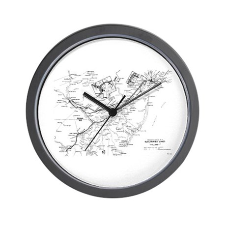 PRR Electrified Lines Map Wall Clock