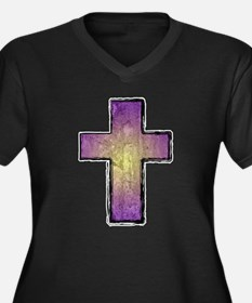 Christian Cross Women's Plus Size V-Neck Dark T-Sh