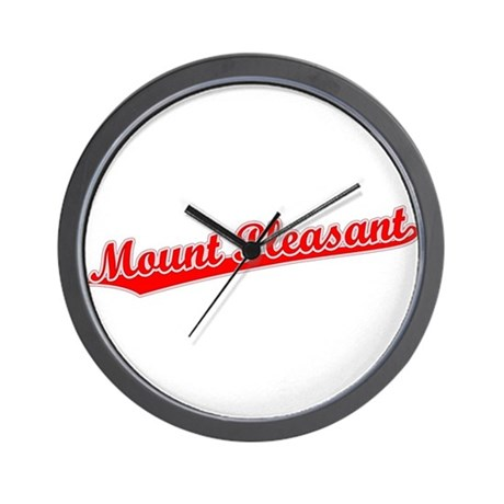 Retro Mount Pleasant (Red) Wall Clock