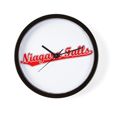 Retro Niagara Falls (Red) Wall Clock