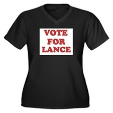 Vote for LANCE Women's Plus Size V-Neck Dark T-Shi