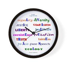 Liberal Values Wall Clock
