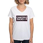 Cancer Sucks Breast Cancer Aw Women's V-Neck T-Shi