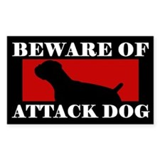Beware of Attack Dog Boxer Sticker (Natural Ears)