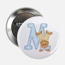 "Teddy Alphabet M Blue 2.25"" Button"