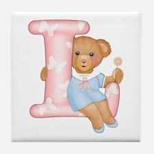 Teddy Alphabet L Pink Tile Coaster