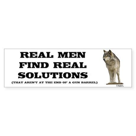 """Real Men"" Wolf Sticker (Bumper 10 p"