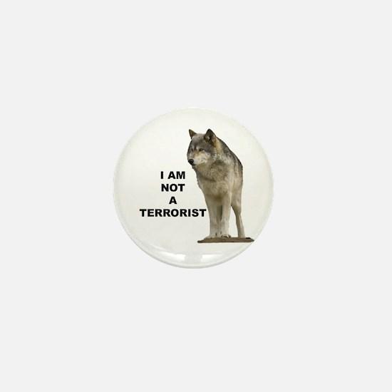 """""""NOT A TERRORIST"""" Wolf Appare Mini Button"""