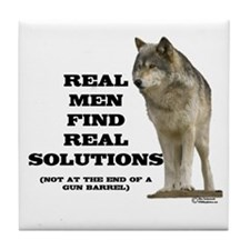 """Real Men Find Real Solutions Tile Coaster"