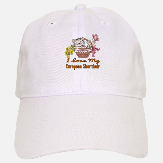 I Love My European Shorthair Designs Baseball Baseball Cap