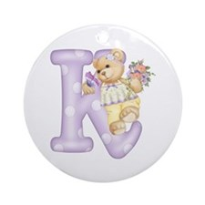 Teddy Alphabet K Purple Ornament (Round)