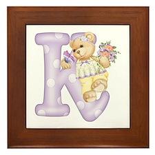 Teddy Alphabet K Purple Framed Tile