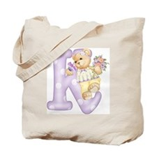 Teddy Alphabet K Purple Tote Bag