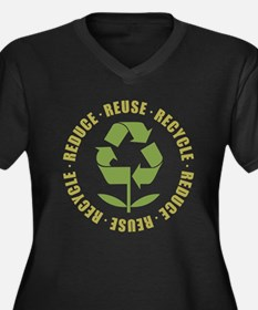 Reduce Reuse Recycle Women's Plus Size V-Neck Dark