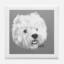 West Highland Terrier - Westi b/w Tile Coaster