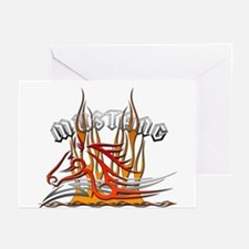 Mustang Tribal with Flames Greeting Cards (Pk of 1